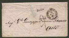 REGNO DI SARDEGNA. Ferrovia. Linea Genova - Torino - Genova. Lettera 14.12.1861