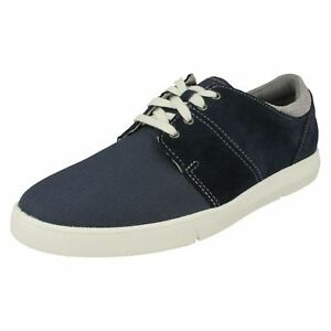 Mens Clarks Landry Edge Navy Combi Suede Casual Lace Up Shoes - G Fitting