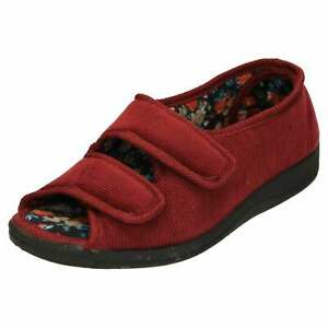 Ladies Wide Fit Open Toe Slippers Cushioned Slip Resistant Red House Shoes