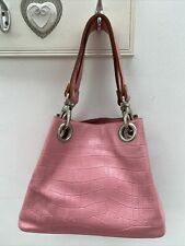 Russell & Bromley Handbag Small Pink Croc Skin Leather Grab Bag