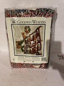 Vtg Goodwin Weavers Teddy Bear Triple Woven Afghan Blanket 100% Cotton 48 X 67