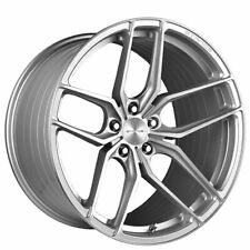 """4ea 21"""" Staggered Stance Wheels SF03 Brush Silver Rims (S7)"""