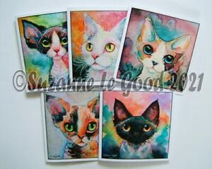 Devon Rex Cat 5 art Greetings cards from original painting by Suzanne Le Good