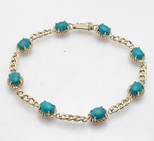 Natural Turquoise Gemstone Tennis Curb Link Bracelet Real 14K Yellow Gold QVC