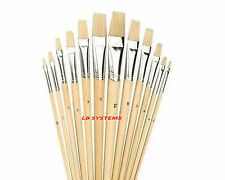 ARTIST PAINT BRUSH SETS Small/Large Wooden Acrylic/Oil/Watercolour Thin Thick 12