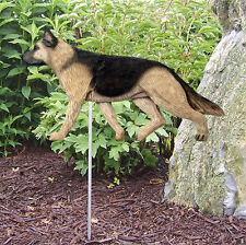 German Shepherd Outdoor Garden Dog Sign Hand Painted Figure Tan w/ Black Saddle