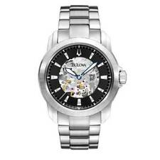 BULOVA DRESS AUTOMATIC 21 JEWELS BLACK DIAL ST. STEEL MEN'S WATCH 96A141 NEW