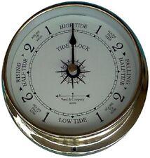 """5 3/8"""" Raised Brass Tide Clock By West & Co."""