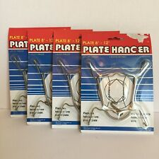"""Metal Plate Holders Spring Wire Wall Hanger Display Plates 8"""" to 12"""" Lot of 4"""
