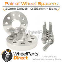 Wheel Spacers (2) & Bolts 20mm for Peugeot RCZ 09-15 On Original Wheels