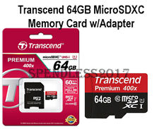 Transcend 64GB MicroSDXC Class10 UHS-1 Memory Card with Adapter 60 MB/s.*NEW*