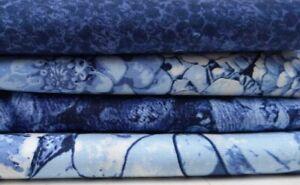 1 x Blue Floral Fabric Panel + 3 x Half Metre Matching Fabric Quilt Bundle