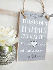 HANDMADE Wedding Anniversary Plaque Sign PERSONALISED Shabby CHIC