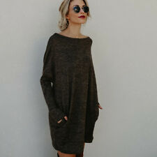 Womens Knitted Sweater Jumper Dress Pullover Loose Long Sleeve Sweatshirt Winter