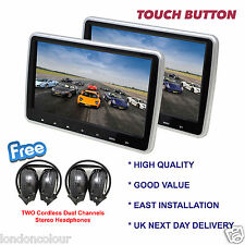 "10.1""Twin Digital Screen Touch Panel Car Headrest Players Free 2*IR headphones"