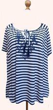 New ~ Evans Blue & White Stripe Tie Neck Top SIZE 22-24