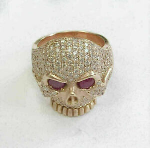 Men's 2Ct Ruby & Sim Round Diamond Skull Ring 14K Rose Gold Plated 925 Silver