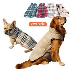 Pet Dog Reversible Plaid Padded Coat Warm Vest Outwear Clothes 4 Colors XS-XXXL