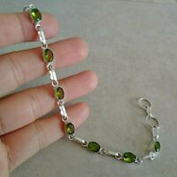 """NATURAL OVAL GREEN PERIDOT 925 STERLING SILVER LINK CHAIN BRACELET 7.5"""" HANDMADE"""