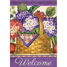 """New listing Hydrangea Basket Welcome House Flag 28"""" x 40"""" Double sided Flag by Carson"""