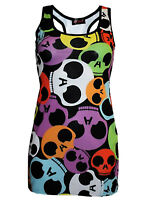NEW LADIES MULTI RAINBOW SKULLS PRINT LONG VEST TOP SUMMER DRESS GOTH PUNK EMO