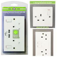 PIFCO 1 2 GANG SINGLE DOUBLE SWITCHED WALL SOCKET USB MOBILE PHONE TABLET CHARGE