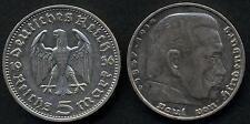 GERMANY Third Reich 5 Reichsmark Hindenburg 1936D  AG