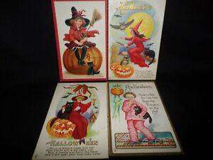 Rare Antique Original Lot of 4 Halloween Postcards 1900's