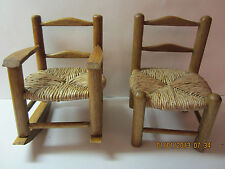 2 Vintage Wooden Doll Chairs With Woven Seats-One Is A Rocker-Great Detail!