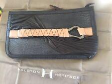 d7a3d99518 Halston Heritage Executive Clutch Black Handbag Italian Leather