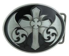 Celtic Christian Cross Black Enamel Metal Belt Buckle
