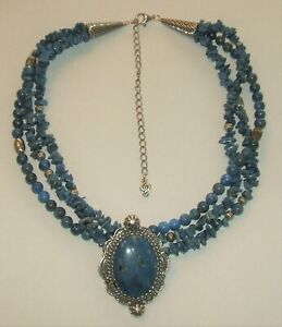 Carolyn Pollack RELIOS Sterling Silver lapis Enhancer Pendant Necklace 16-20'