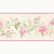 PP79452 - Pretty Prints 4 Blumen cremefarben rosa Galerie Tapete Bordüre