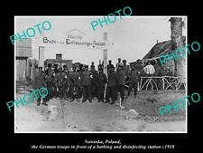 OLD POSTCARD SIZE MILITARY PHOTO WWI NOWINKA POLAND THE GERMAN BATHS 1918