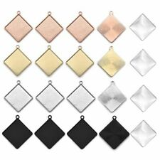 20mm Square Cabochon Base Settings Cameo Tray Bezel Charms Pendant Blank For DIY