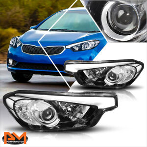 For 14-16 Kia Forte 5 Koup Projector Headlights/Lamps Chrome Housing Clear Side