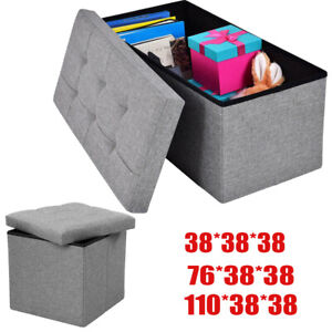 Large Grey Ottoman Foldable Storage Box Linen Suede Foot Stool Seat 2 Sizes New