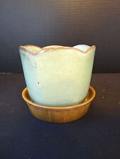 Frankoma Prairie Green Vase/Utensil Holder/Planter and Base #37 & #S6