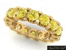 Shared U-Prong Eternity Wedding Band Ring 10k Yellow Gold 3Ct Yellow Diamond