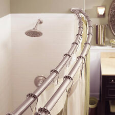 Adjustable Double Curved Shower Curtain Rod Crescent Bathtub, Satin Nickel