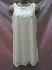 ivory cream sequin shift dress size S party evening holiday wedding