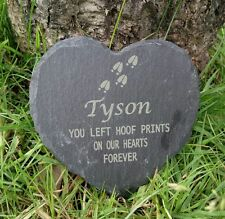 Personalised Engraved Slate Heart Pet Memorial Grave Marker Plaque Horse hooves