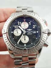 Mens Breitling Super Avenger SS A13370 Black Arabic Dial 48mm Automatic
