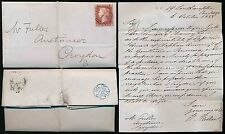 PENNY RED LONDON INLAND OFFICE No.1 + BRIGHT BLUE FM THIMBLE 1858 to CROYDON