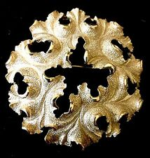 Beautiful Vintage Gold Tone Leaf Wreath Brooch SIGNED TRIFARI 2""