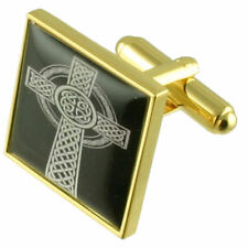 Gold Viking Celtic Cross Knot Cufflinks With Pouch