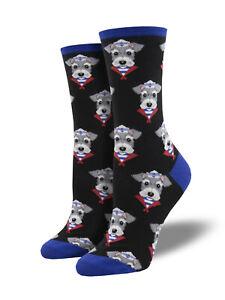 Schnauzer Dog Socks - Black SockSmith Cotton Womens