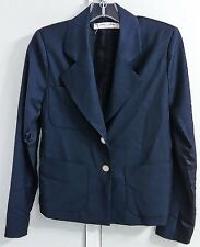 LA PRESTIC OUISTON Paris Blue Black Wool Silk Blazer Women's Size XS EUR XS