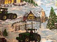 John Deere Winter Christmas Snow Scene FLANNEL 100% Cotton Fabric BTY OOP HTF