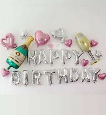 25PCS Champaign Glass Theme Happy Birthday Letter Party Foil Set Balloons